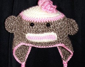 Sock Monkey Earflap Hat for Toddler- approx. 18-19 inches