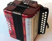 Vintage Hohner, Erica, Ruby Red, Diatonic B & C Accordion, Germany