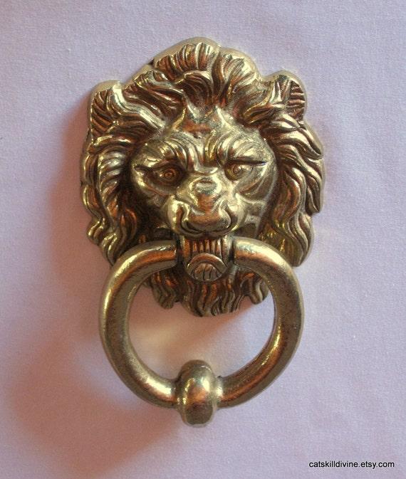 Vintage brass lion door knocker - Vintage brass door knocker ...