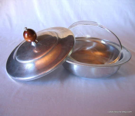 RESERVED-Vintage, Buenilum, Aluminum & Pyrex Covered Serving Dish