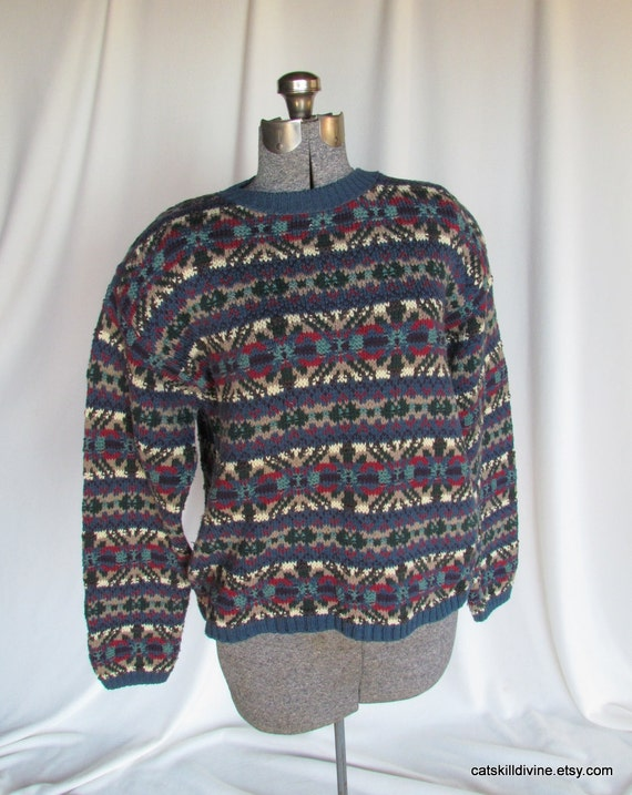 Vintage, LL Bean, Rustic Country Sweater, Cotton, Unisex, Large