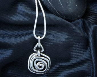 Spiral Square and Textured Triangle Pendant PE71