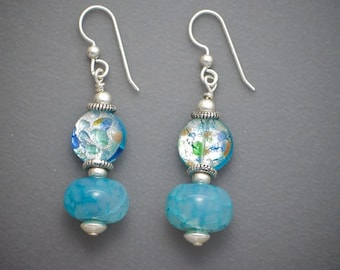 Blue Dragon Vein and Murano Glass Dangle Earrings