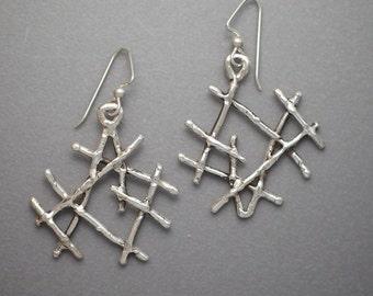 Medium Sterling Twig Earrings