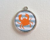 Custom Pet I.D. Tag, Nautical Crab on Silver Double Sided Tag