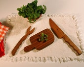 Walnut Cutting Board With Knife & Fork, Reclaimed Wood Handmade
