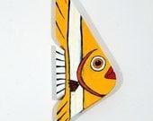 Fish Decor Painted Wood Yellow Folk Art