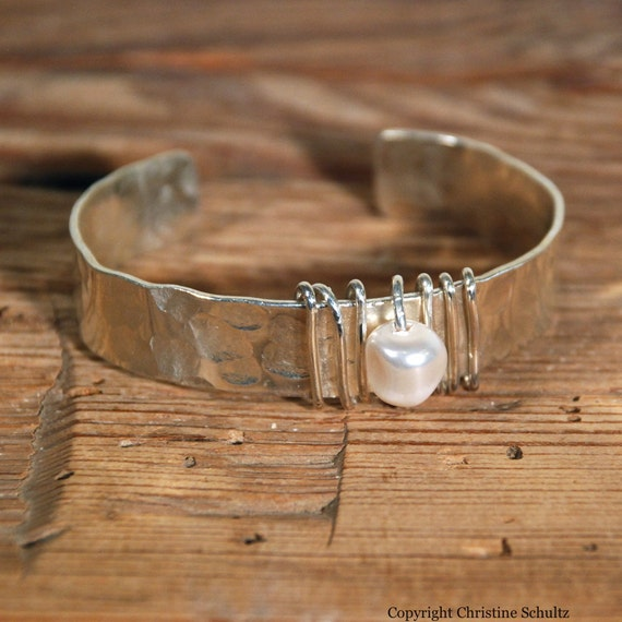 Silver Pearl Cuff Bracelet Wrapped in Sterling Wire
