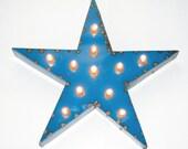 Blue Star Vintage Industrial Metal Sign with Lights