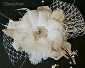 Ivory Bridal Headpiece, Bridal Hair Flower, Hair Accessory, Pearl Rhinestone Lace Tulle and Feather Bridal Hair Clip, Wedding Hairpiece