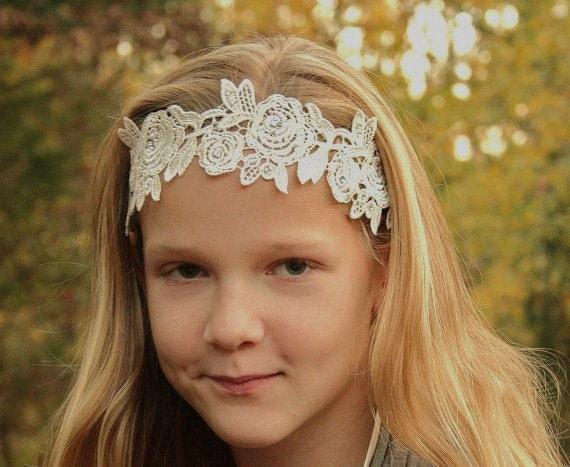 Lace Ribbon Headband, Sash, Belt, Bridal, Wedding, Ivory, Dress Sash, Accessory
