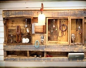 Rustic Wall Shelf Display Organizer with electric light. Made from Upcycled Wooden Pallets