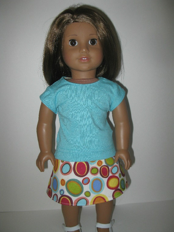 American Girl Style Doll Clothes - Reversible Wrap Around Skirt and Turquoise Short Sleeve T Shirt