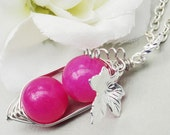 Two Peas In A Pod Hot Pink Jade Silver Necklace