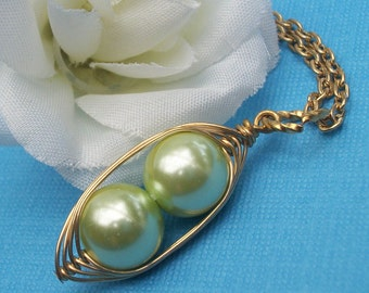 Two Peas In A Pod Gold Pendant Necklace For Two Special People Mint Green Pearls