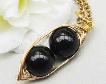 Two Peas In A Pod Gold Pendant Necklace Black Swarovski Pearls. For Brides, Bridesmaids, Sisters, Family, Best Friends Or Mothers