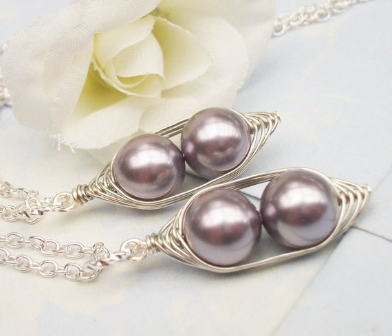 Like 2 Peas In A Pod Necklaces - SET OF 2 - 2 or 3 Pearls Choose Your Color Swarovski Pearls