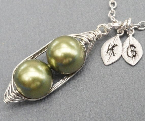 Peas In A Pod Necklace 2 , 3 Or 4 Peas Pick Your Color Pearl