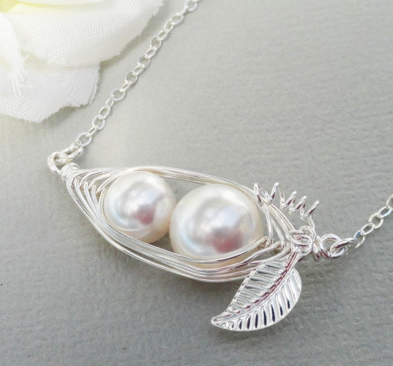 Mother And Child Sterling Silver Horizontal Peapod Necklace - Choose Your Color Pearl