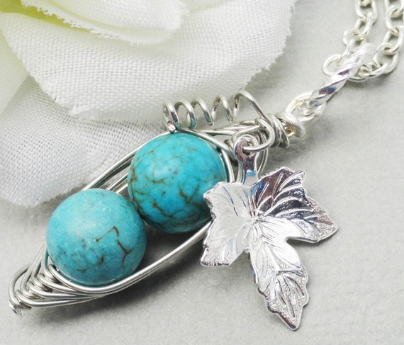 Two Peas In A Pod Turquoise Silver Necklace