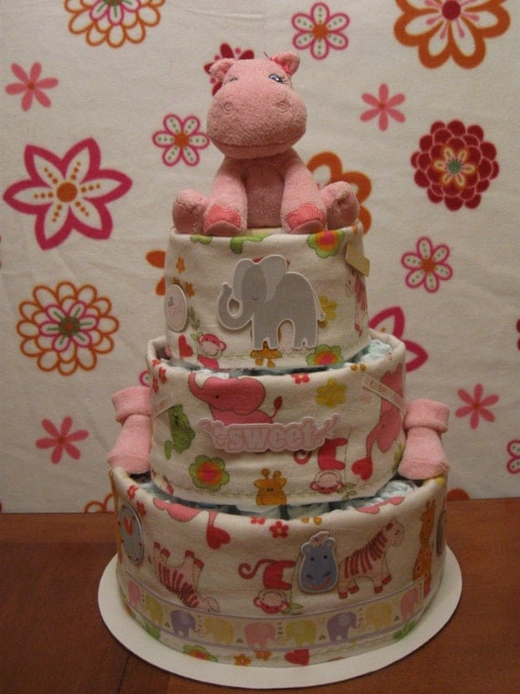 SALE -- Pink Jungle Animals Baby Girl Diaper Cake