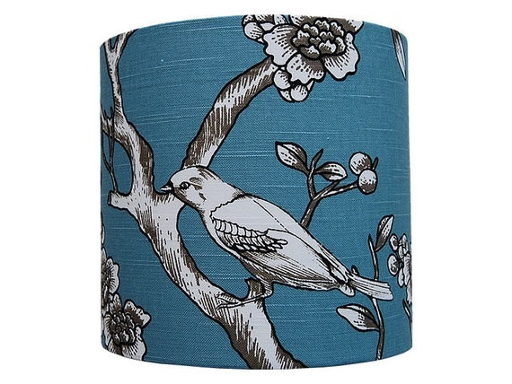 Table lampshade in Vintage Blossom Jade fabric suitable for bedside table