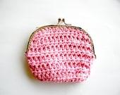 50% Sale - Crochet Purse - Pink