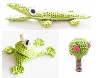 Crochet Frog Crocodile Apple Tree Pattern - Instant Download