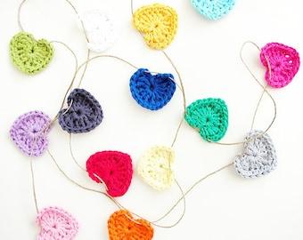 Crochet Hearts Garland - 14 hearts (1.75 inch)