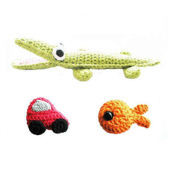 Crochet Pattern Set - Crocodile Car Fish - Instant Download