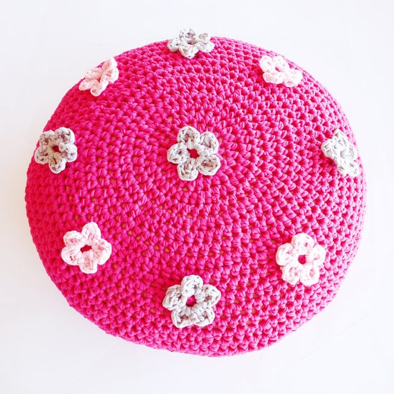 Crochet Ottoman : Crochet Flower Pouf Ottoman Floor Cushion Pattern - Instant Download