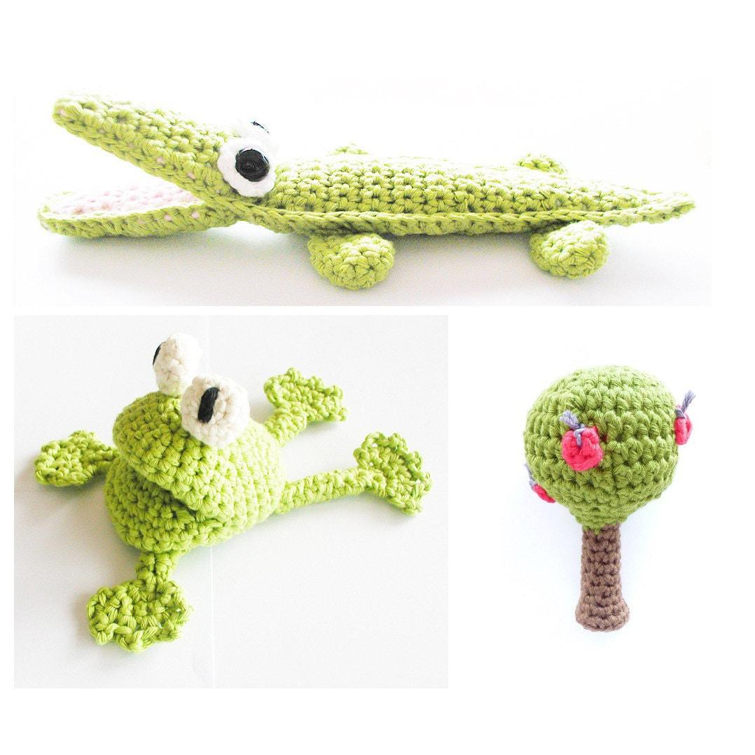 crochet frog crocodile apple tree pattern instant download. Black Bedroom Furniture Sets. Home Design Ideas
