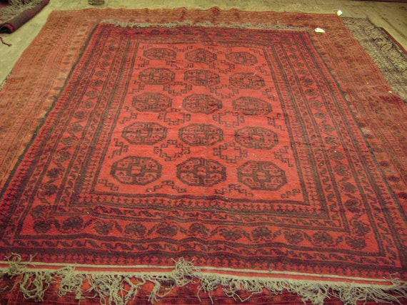 "Vintage Made in Pakistan Ersari Qarkin Room Sized Oriental Rug Red and Black 6' 4"" by 9'"