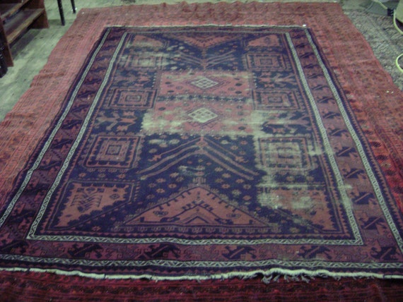 "Semi Antique 50 to 70 Years old Persian Made in Iran Belouch or Bellouch Oriental Room Sized Rug 6' 6"" by 9' 3"""
