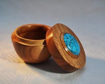 turned muninga box with turquoise insert