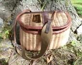 Vintage trout FISHING CREEL basket FISH Gear 1940s