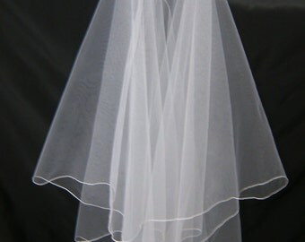 Silk Pencil Edge Trim Folded Mantilla 72 Inch Long Floor Length Blusher Veil