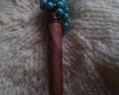 Turquoise and Copper Beaded Wooden Shawl Pin