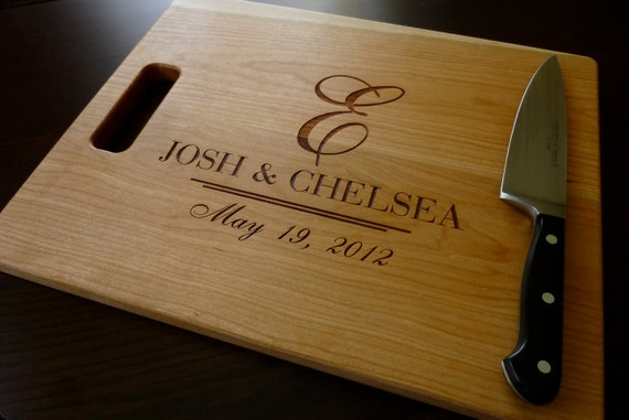 Unique Gifts Wedding: Personalized Engraved Cutting Board By TaylorCraftsEngraved