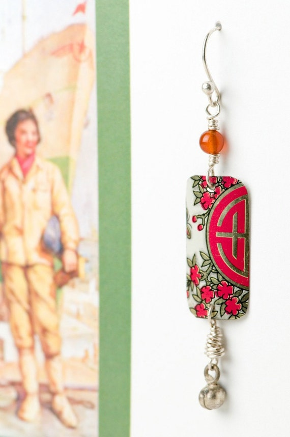 cream with red blossoms upcycled chinese tea tin earrings