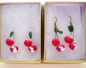 Traverse City, Michigan cherry earrings // antiqued brass or silver
