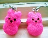 pink bunny peep earrings
