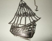 vintage pirate galleon ship necklace,steampunk sailboat pendant necklace,man o war necklace . Free ship cont. US