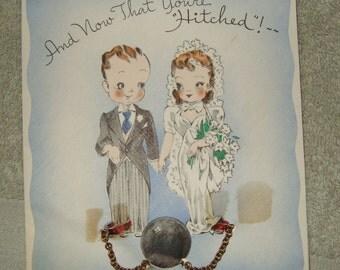 Vintage  wedding greeting card wedding bride groom ball and chain 1942 wedding card.