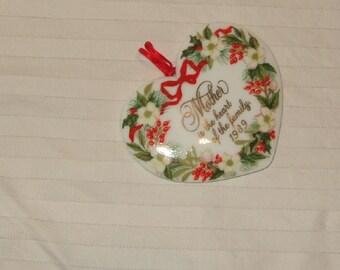 Vintage Mother gift Christmas ornament 1989 Mother's Porcelain heart Hallmark ornament Valentine  Mother's Day Christmas ornament
