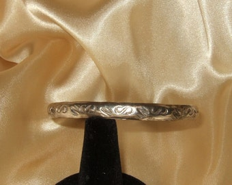 Vintage sterling silver bracelet silver bangle engraved silver bangle sterling jewelry