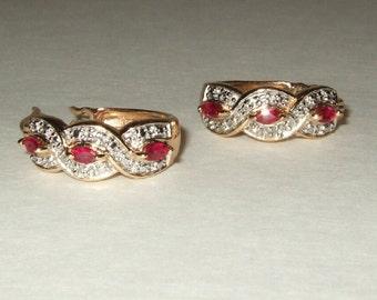 Vintage jewelry vintage 925 sterling silver earrings with marquis rubies Pierced hoop earrings