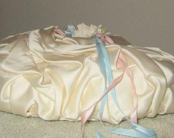 Vintage ring pillow handmade ivory satin ring bearer's pillow antique ring pillow bride pillow 1953 something old something new June bride