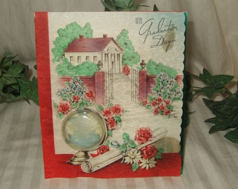 vintage graduation card 1942 complete with world globe front vintage 3D graduation card