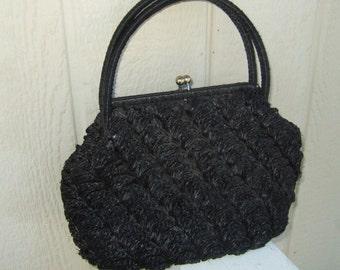 Vintage straw purse Mr Jonas woven straw purse kiss lock black straw purse with navy interior summer purse